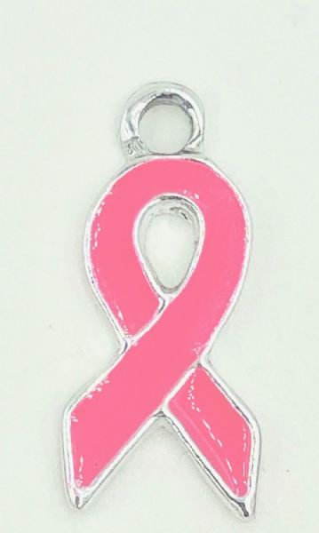 Breast cancer awareness - Pink ribbon charms - 18mm x 9mm